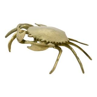 Mid-Century Solid Brass Crab Box