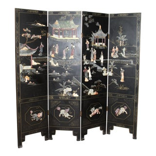 Antique Chinese Coromandel Four-Panel Wooden Screen With Mother of Pearl and Jade Inlays For Sale