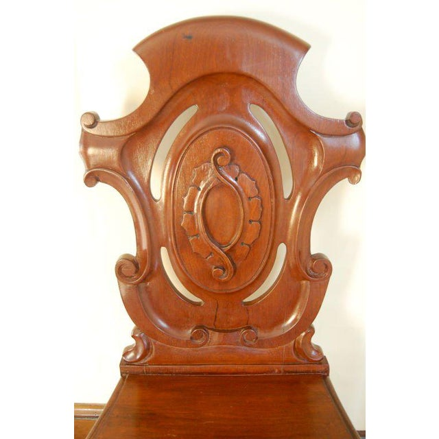 English Pair of English Hall Chairs For Sale - Image 3 of 3