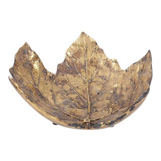 Small Gold Maple Leaf Tray For Sale