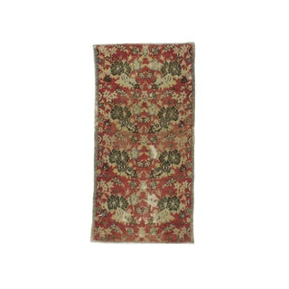 1960s Turkish Distressed Small Floral Rug For Sale