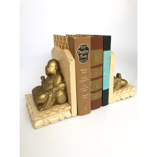 Ceramic Vintage Chinese Smiling Buddha bookends - A Pair For Sale - Image 7 of 11