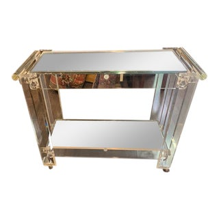 1970s Vintage Modern Lucite, Rolling Bar Cart With Two Shelves For Sale