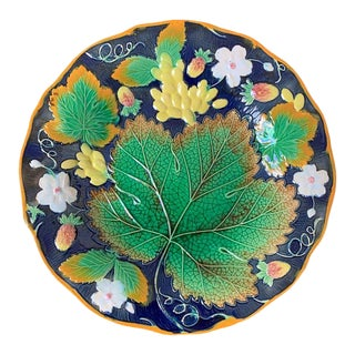 Wm Brownfield Majolica Leaf and Strawberry Plate in Cobalt Blue, English, 1876 For Sale