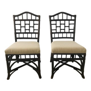 Rattan Chippendale Side Chairs - A Pair For Sale