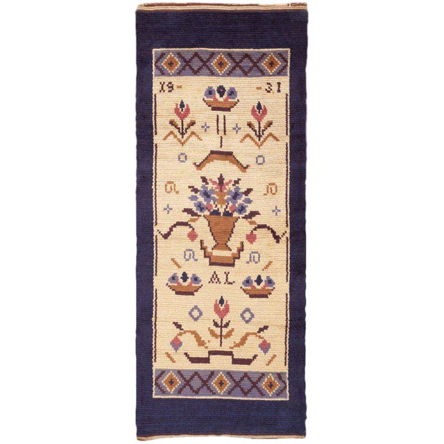 Vintage Swedish Wool Rug - 4′ × 9′7 For Sale
