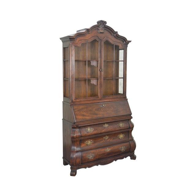 Henredon Four Centuries Baroque Style Bombe Oak Secretary Desk For Sale - Image 12 of 12