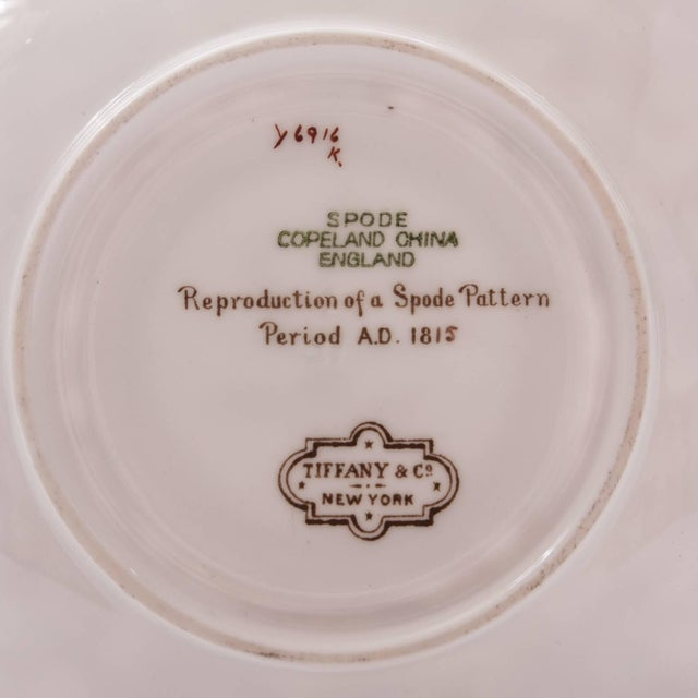 English Traditional 11 Tiffany Antique English Cup and Saucers With Turquoise and Gold by Spode For Sale - Image 3 of 4