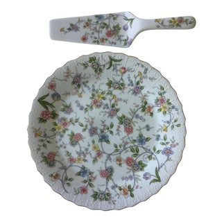 Japanese Floral China Cake Plate and Server - a Pair For Sale