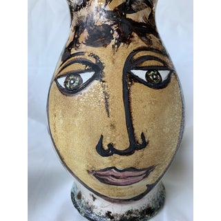Vintage Italian Pottery Hand Painted Face Pitcher Vase Preview