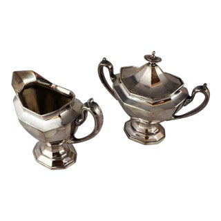 Circa 1934 Reed and Barton Sterling Silver Sugar and Creamer For Sale
