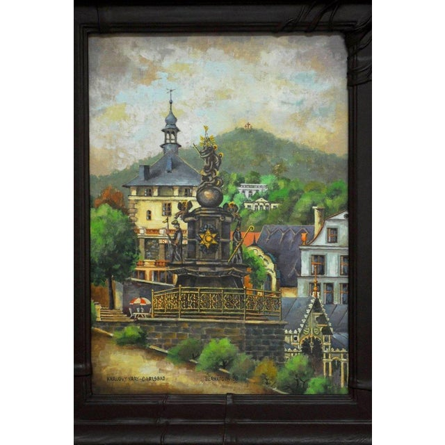 Beautiful oil on board painting of Carlsbad or Karlovy vary in western Bohemia. Depicts a Baroque statue from 1716 and a...