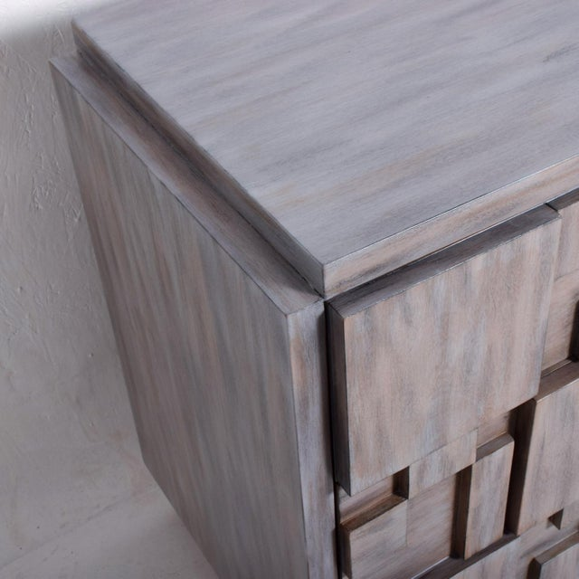 Gray Mid-Century Modern Brutalist Dresser with Lane Patchwork Walnut Tiles For Sale - Image 8 of 10