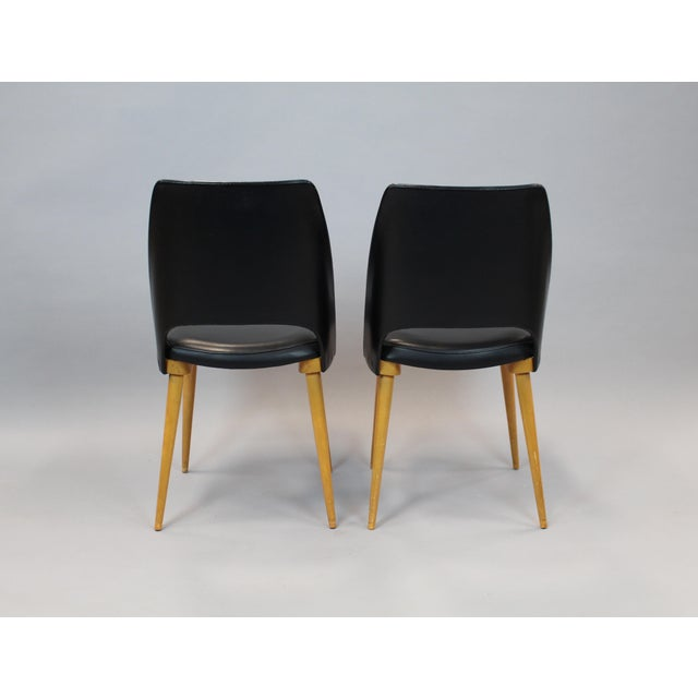 Mid-Century Vinyl Noir Side Chairs - a Pair - Image 4 of 6