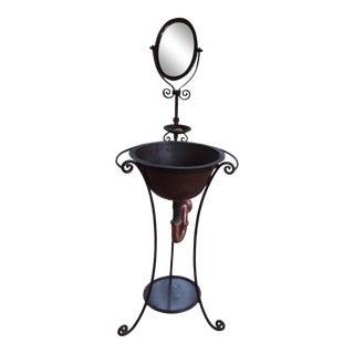 Industrial Hand Hammered Copper Pedestal Sink For Sale