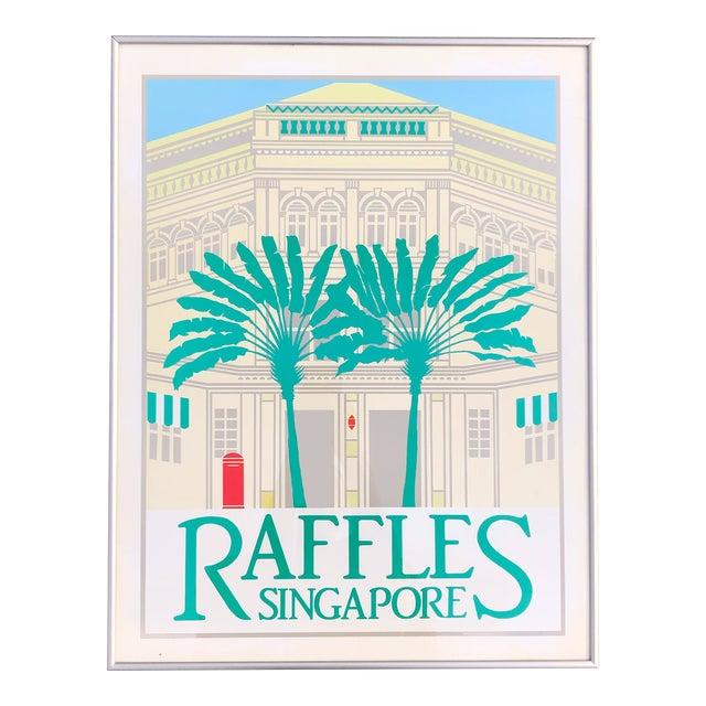 1980s Perry King Raffles Singapore Silkscreen Poster, Framed For Sale