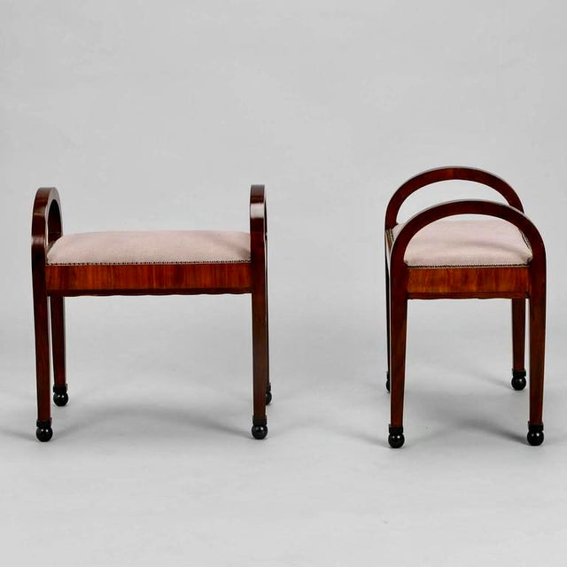 French Art Deco Upholstered Benches - A Pair - Image 8 of 10