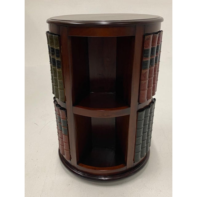 Mahogany and Leather Revolving Book Motife Cabinet For Sale - Image 9 of 9