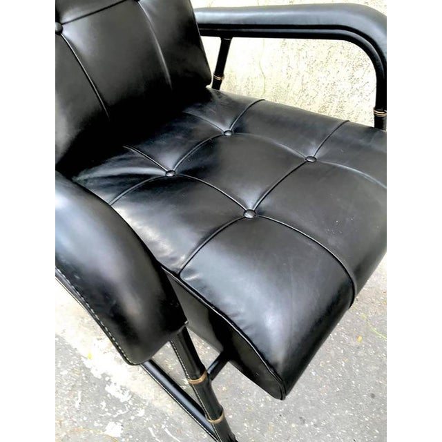 Jacques Adnet Jacques Adnet Rare Rocking Chair and Footstool in Black Hand-Stitched Leather For Sale - Image 4 of 9