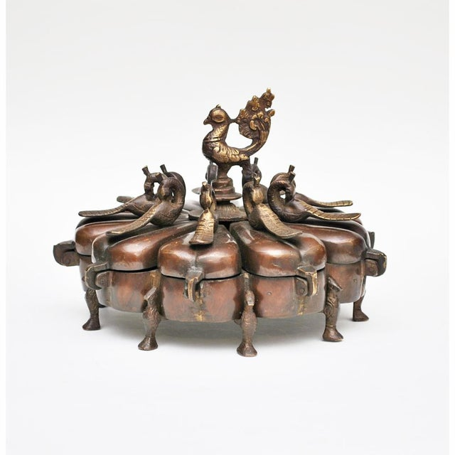 17th -18th Century Antique Chinese Peacock Spice Box For Sale - Image 13 of 13