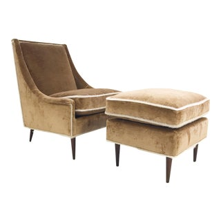 Vintage Milo Baughman Lounge Chair and Ottoman Restored in Ralph Lauren Caramel Linen Velvet With Brazilian Cowhide Welting