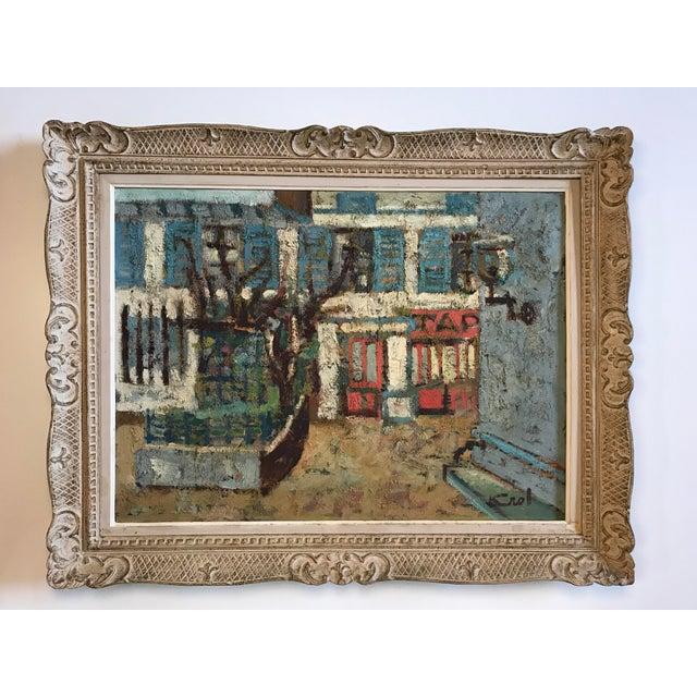 Linen 1940-1950s Original Abraham Krol Landscape Oil Painting For Sale - Image 7 of 8