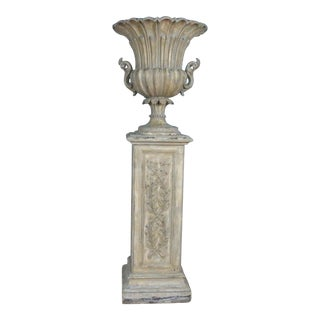 Carving Wood Italian Vase With Pedestal For Sale
