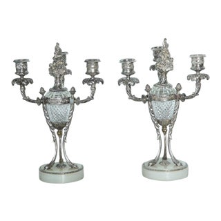 Pair of Louis XVI Style Silvered Bronze and Crystal Candelabra For Sale