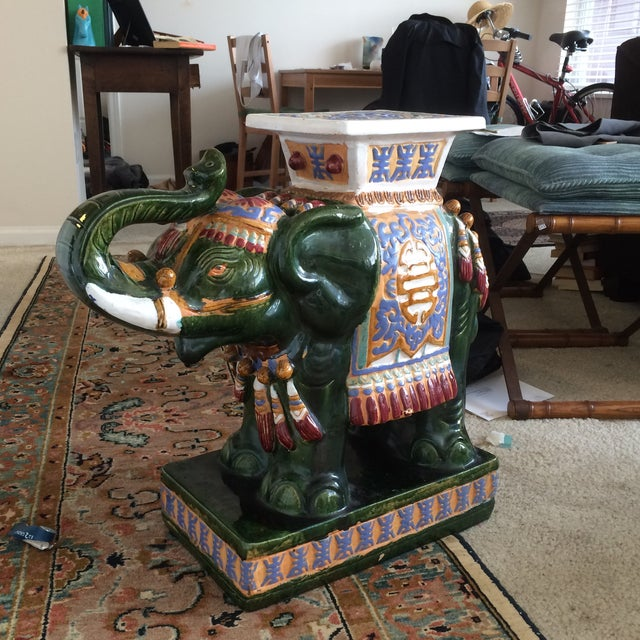 Green Ceramic Decorative Elephant Statue For Sale - Image 8 of 8