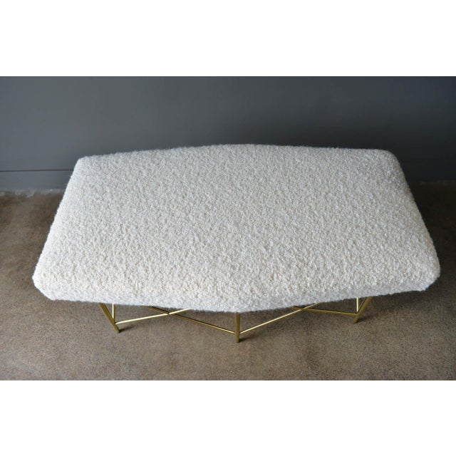1970s Ivory Bouclé and Brass X-Base Ottoman Bench For Sale - Image 10 of 12