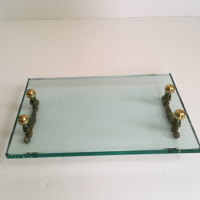 Gold Late 20th Century Hollywood Regency Glass and Brass Tray For Sale - Image 8 of 10