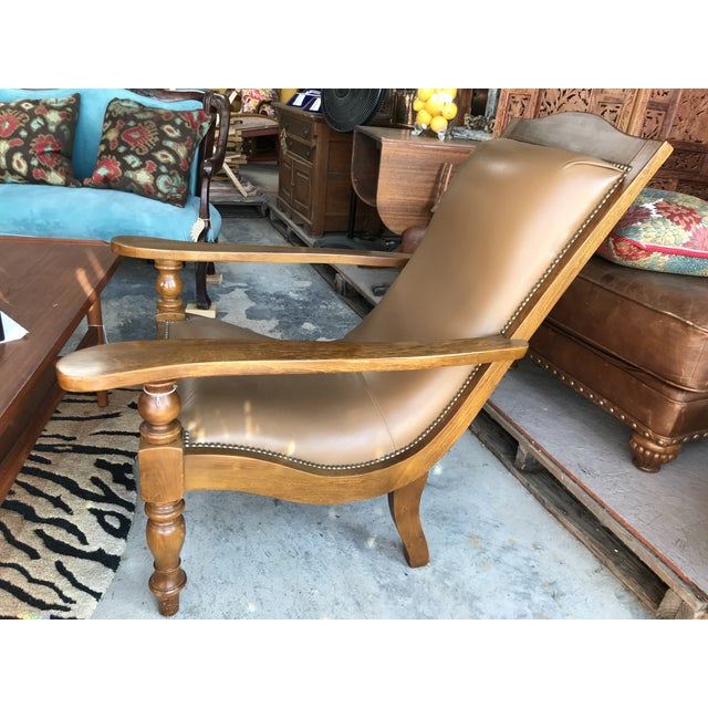 Incredible 1980S Vintage Leather Plantation Chair And Ottoman Dailytribune Chair Design For Home Dailytribuneorg