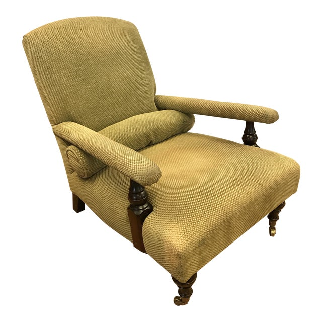 George Smith Green Upholstered Edwardian Club Chair For Sale