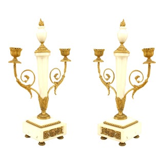 French Marble and Gilt Bronze Candelabras For Sale