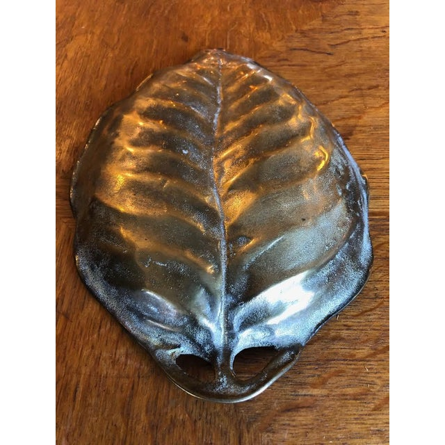 Gold Heavy Brass Figural Leaf Dish/Tray For Sale - Image 8 of 9