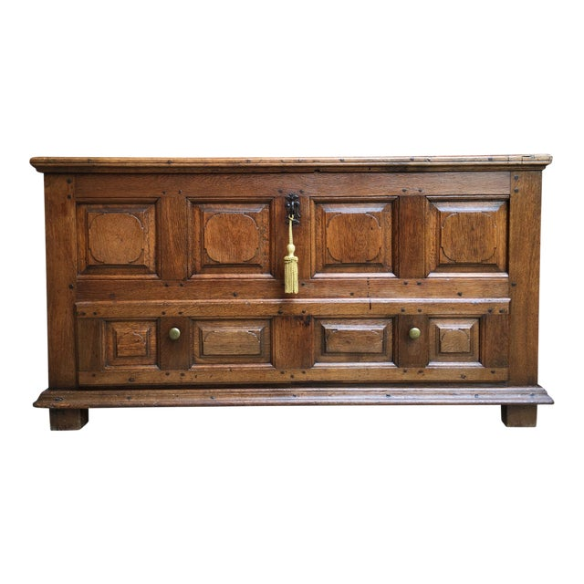 1900s Antique French Country Carved Oak Mule Chest Bench Coffer Trunk For Sale
