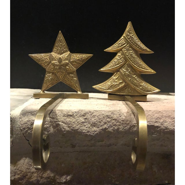 Vintage Antiqued Brass Stocking Hangers Tree & Star - a Pair For Sale - Image 9 of 9