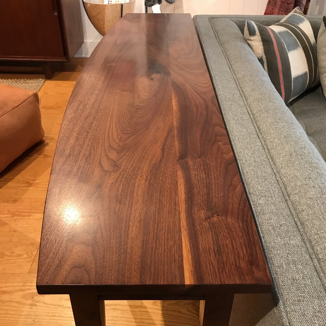 Brown Handcrafted Walnut Curved Console Table For Sale - Image 8 of 13