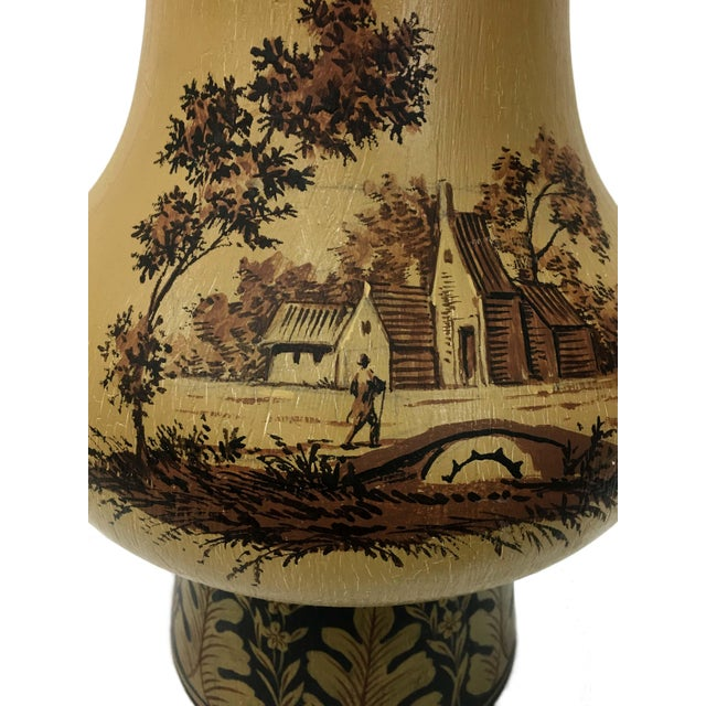 Yellow Orca Wooden Urn Lamp For Sale - Image 4 of 7