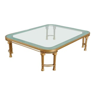 Hollywood Regency Style p.e. Guerin Coffee Table With Etched Glass Solid Bronze For Sale