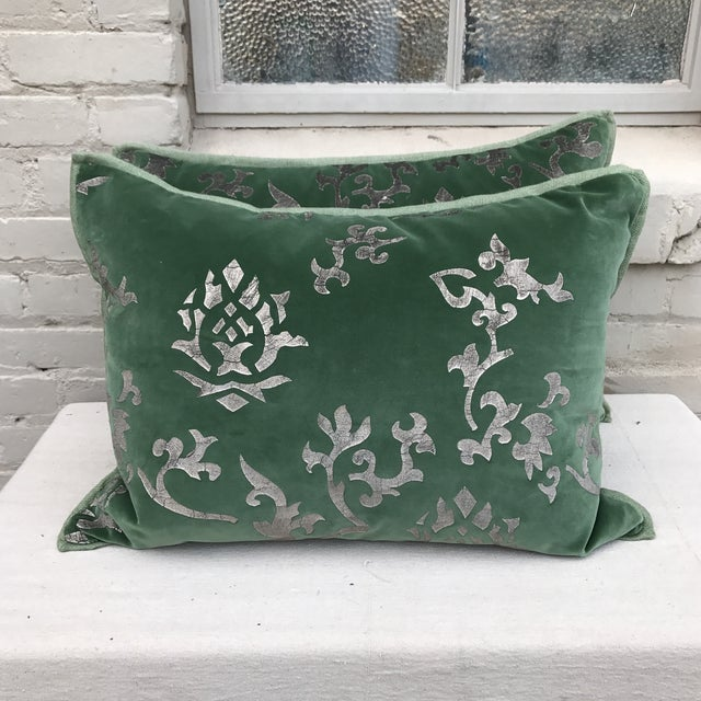 Silver Stenciled Green Velvet Pillows - A Pair - Image 2 of 7