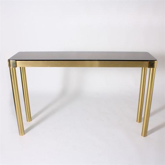Italian Brass Console With Smoky Glass Top, C. 1950 For Sale - Image 4 of 4