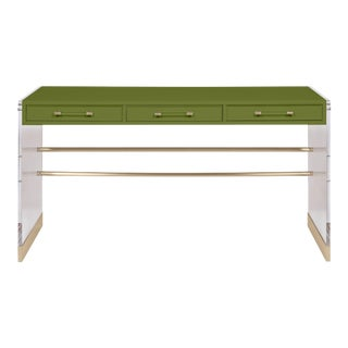 Casa Cosima Arden Desk with Taper Leg Base, Timson Green For Sale