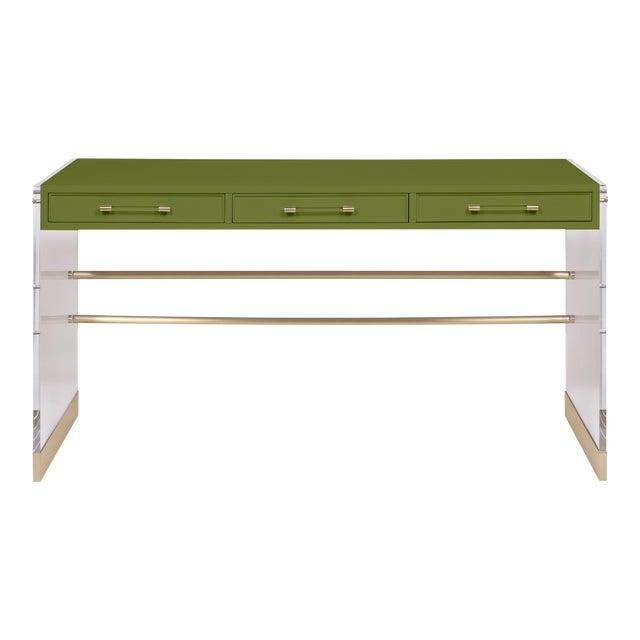 Casa Cosima Arden Desk with Taper Leg Base, Timson Green For Sale