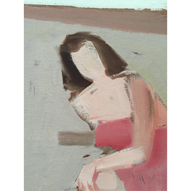 """From the estate of Jerry Opper & Ruth Friedman Opper Pink Towel 2 c. 1940-1950's Gouache on Paper 15"""" x 18"""", Unframed Very..."""