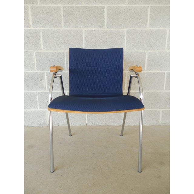 Blue Thonet Chrome & Bent Wood Chairs - Set of 6 For Sale - Image 8 of 9