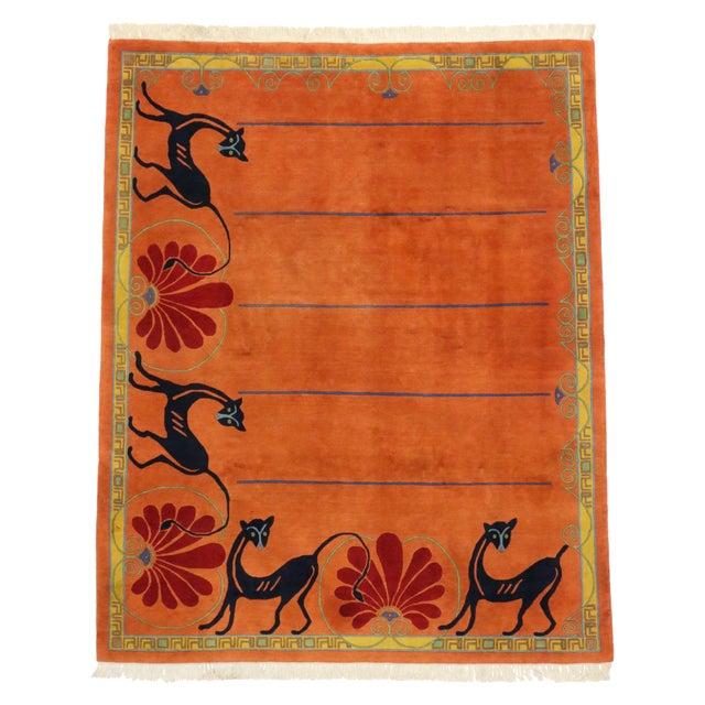 Vintage Tibetan Orange with Black Cats Rug - 8′3″ × 10′2″ For Sale - Image 5 of 7