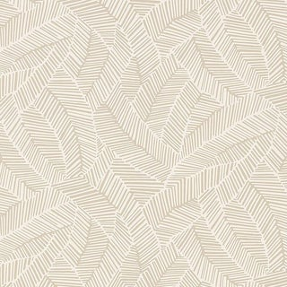 Sample - Schumacher Abstract Leaf Geometric Stripes Wallpaper in Linen Beige For Sale