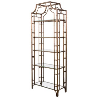Late 20th Century Chinese Chippendale Pagoda Style Faux Bamboo Etagere For Sale