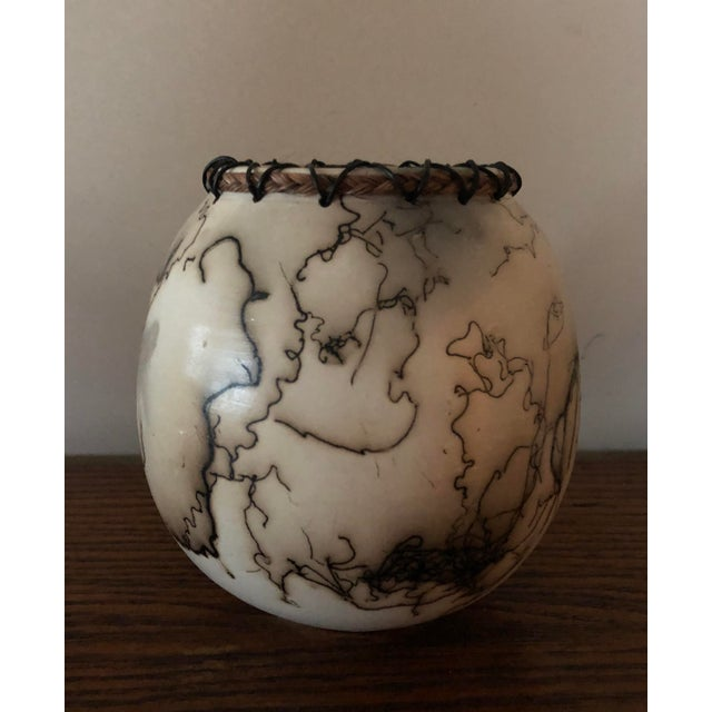 Ceramic Horse Hair Pottery With Lacing For Sale - Image 7 of 7